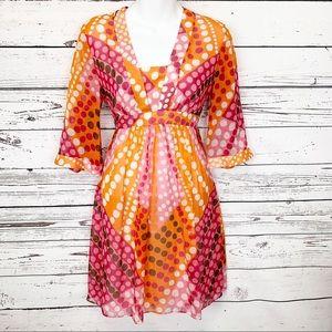 MILLY pink white orange red polka dot silk dress